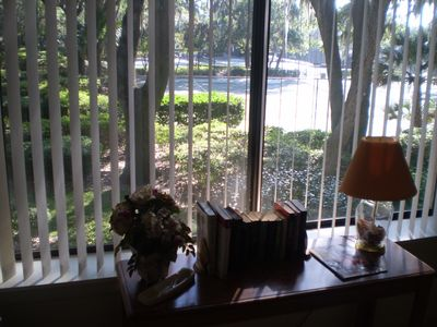 Master Bedroom view (South by Southwest) the tennis courts and the relaxing oaks