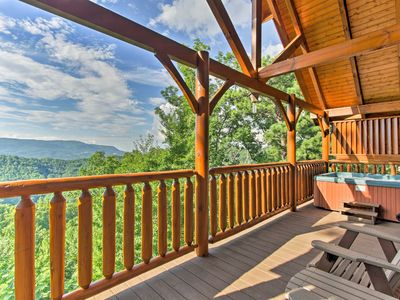 Photo for NEW! Sevierville Cabin w/Bluff Mtn View & Hot Tub