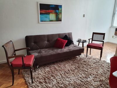 Photo for Light and airy apartment close to Copacabana beach