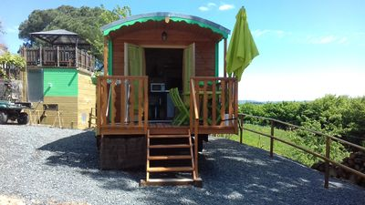 Photo for a wooden cabin comfort, shower and toilet and 160 bed