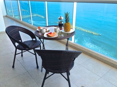 Photo for Beachfront Apt With Pool; Fabulous Balcony & Sea Views; Steps To Old City!