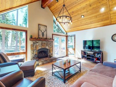 Photo for Gorgeous cabin w/ lake views & private hot tub - short drive to the lake!