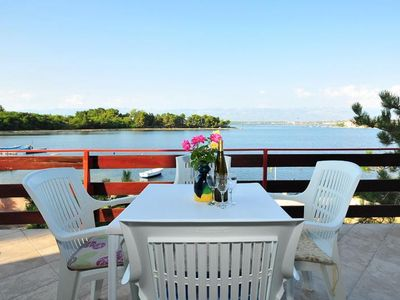Photo for One bedroom apartment with terrace and sea view Nin, Zadar (A-6153-b)