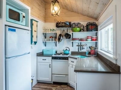 Our tiny but mighty, (and super cute!) kitchen is well stocked with good stuff:)