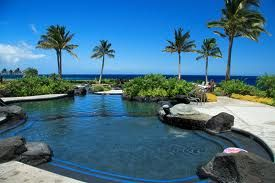 Lagoon style pool - Ocean view from pool & lounge chairs