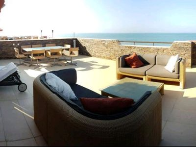 Photo for Spectacular Penthouse, authentic 1st line beach, 70 m2 terrace