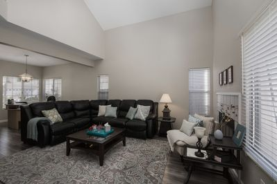 View of the living room and the working desk for business travelers