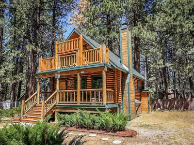 Photo for Bear Lake Hideaway: Two Story Log Cabin w fireplace & hot tub. Walk to the lake!