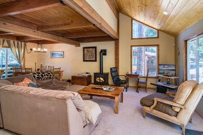 """Living Room - Welcome to Tahoe Donner!  The welcoming living room features a 30"""" TV and a fireplace."""