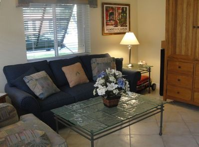 Living Room area with garden view-TV/DVD.