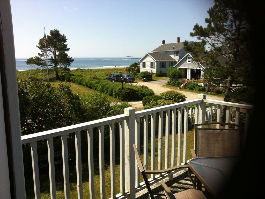 View from deck off great room  Dining table on deck Ocean View Goose Rocks Beach  October November    HomeAway  . Porch Dining Room Kennebunkport. Home Design Ideas