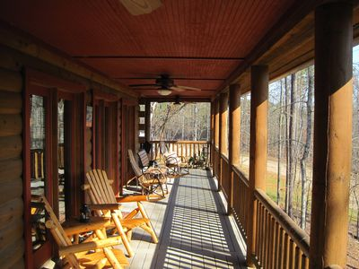 Back porch with plenty of relaxing seating