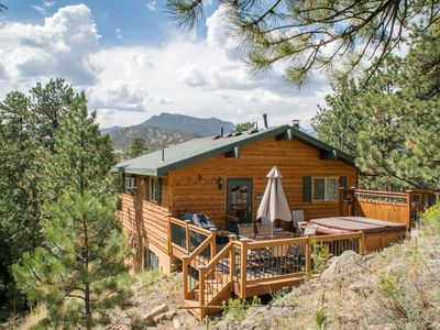 Photo for Pine Cone Cabin., Mtn Views, Walk to Town, Private Location, Hot Tub, Wood FP