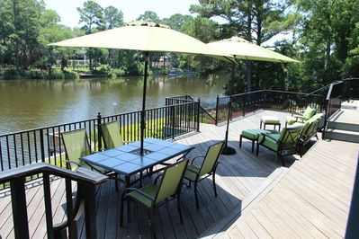 Deck seating with lagoon view
