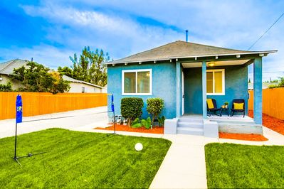 Spacious lawn area, volleyball court included!