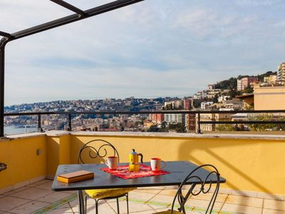 Photo for Vittorio Emanuele Terrace apartment in Vomero with WiFi, air conditioning, private terrace & lift.