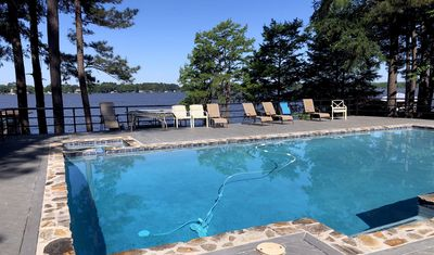 The newly remodeled pool gets lots of sun and shade throughout the day
