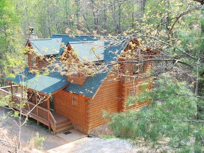 Photo for 3Large3story LOG CABIN-Stone Fireplace/Game Room/Pets /Lake, Beach,River,Hike!