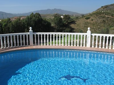 view from the heated pool over the 13th greenat Mijas Los Olivos