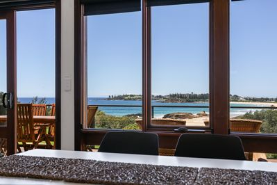 Beach and ocean views from living and dinning room.