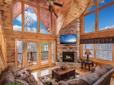 Photo for Amazing View, Luxury 3/3 Cabin Fire pit / Hot Tub/Pool Table/ Access to Pool