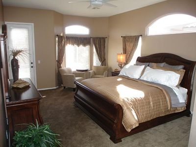 King Size Bed with Sitting Area, Large Walk in Closet Off the Master Bath