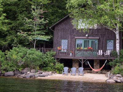 Photo for Classic ADK Boathouse On The Shore Of Long Lake