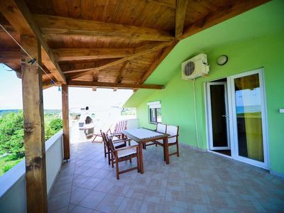 Photo for Two bedroom apartment with terrace and sea view Ljubač, Zadar (A-11922-b)