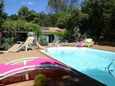 Photo for Familly villa with pool Garrigue heart calm near village and sea