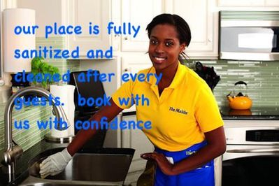 Fully sanitized and cleaned after every guests.  Book with confidence