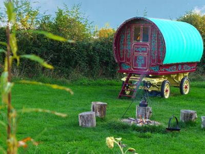 Photo for Stay in a traditional Gypsy Caravan close to Glastonbury in a private orchard