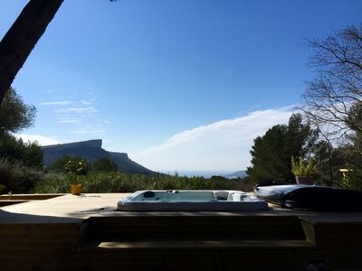 Photo for Villa surrounded by nature, heated pool, jacuzzi and magnificent sea view
