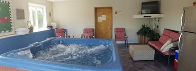 Great Hot tub with Views, TV and second frig.