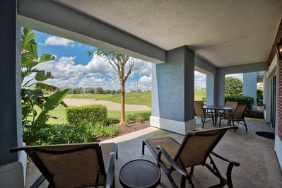 Beautiful relaxing patio, with view of the golf course and visiting wildlife