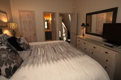 Master bedroom with a NEW KING size bed and Television/DVD set.