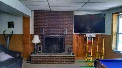 Big screen TV, fireplace, Pool Table ,  Pingpong backyard games and more