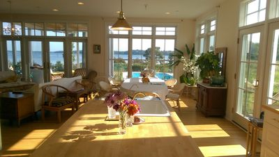 Open floor plan, with views of the river and lake