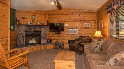 "Photo for Whispering Pine Cabins - ""Riverway""  -  Upper Canyon - Fireplace & Kitchen"