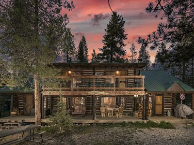 Photo for Rustic Log Cabin by Private Lake with use of boats & bikes; 3-BD, close to RMNP