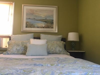 Comfortable queen bed with hotel quality linens.