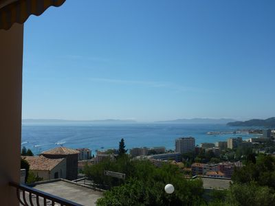 Photo for Studio with sea view balcony for 4 people. quiet with pool, parking and storage