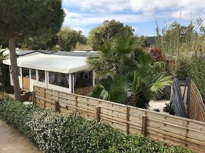Photo for Mobile home for 6 people right on the Pampelonne beach for rent !!