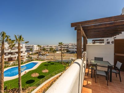 Photo for Beautiful apartment in San Juan de los Terreros, Andalusia, Spain  with communal pool for 4 persons
