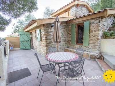 Photo for Aiguebelle, lavandou, french riviera, sea view, beach 300m, heated pool, airco