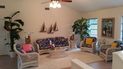 Spacious living room -cathedral ceilings - beautifully  furnished and decorated
