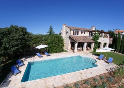 Plenty of room to sunbath and enjoy the view over rolling hills to Adriatic sea.