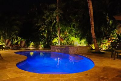 Private pool with lush foliage