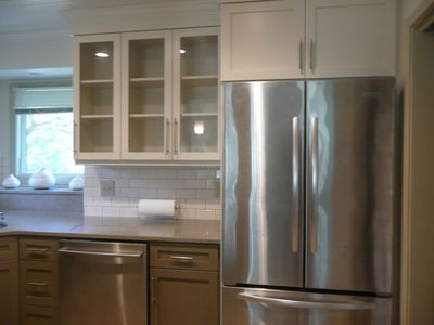 Kitchen / Kitchenaid appliances, custom cabinetry, cambria and Ann Sacks subway,