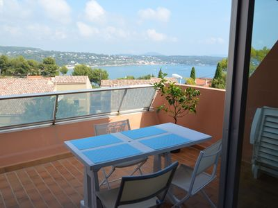 Photo for 2 Room Apartment, + Terrace 12 m² Sea View - Residence with Pool. Sea view