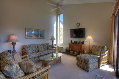 Large, comfy Living Room with original artwork, flat screen Home Theater system